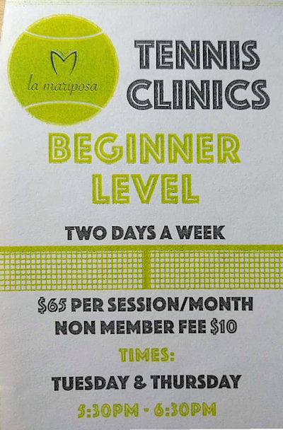 Beginner tennis clinics